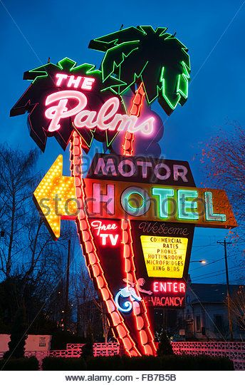 Neon sign for the Palms Motel, a retro icon of Portland, Oregon - Stock Image