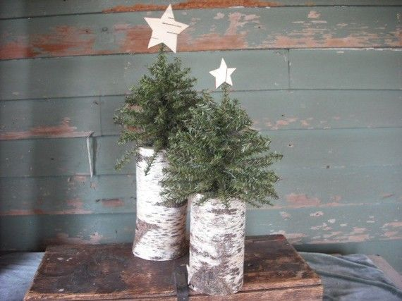 2 Christmas trees on birch log with birch bark star.  For a rustic woodland holiday.
