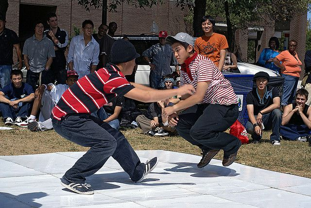 A picture of the Brooklyn Rock/Uprocking/Battle Rock. Introduction of the Hip Hop Culture through Bboying.