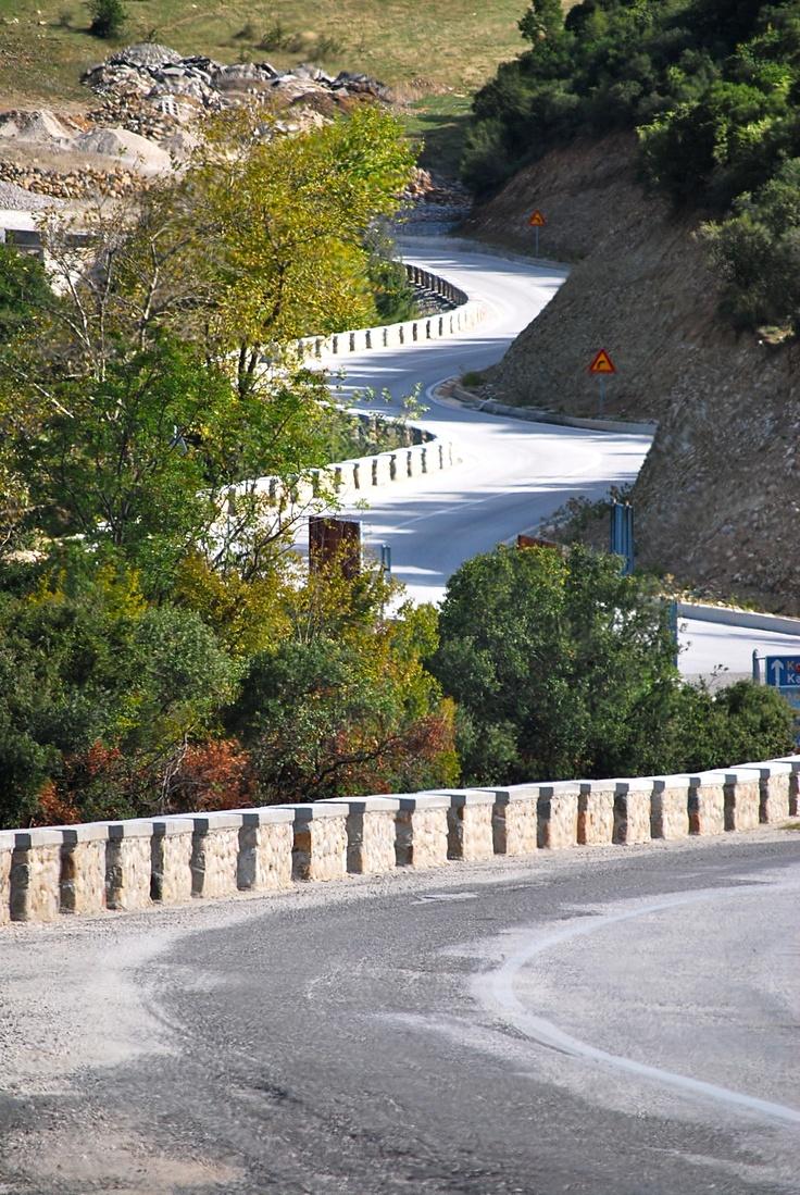 Winding road in the hills of Kalambaka Greece
