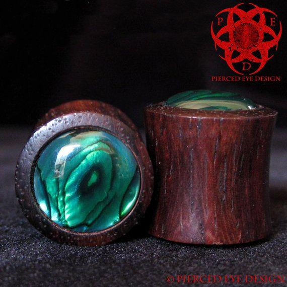 "1/2"" Wood Ear Plugs Green Abalone Paua Shell Inlay on Etsy, $33.33 CAD"