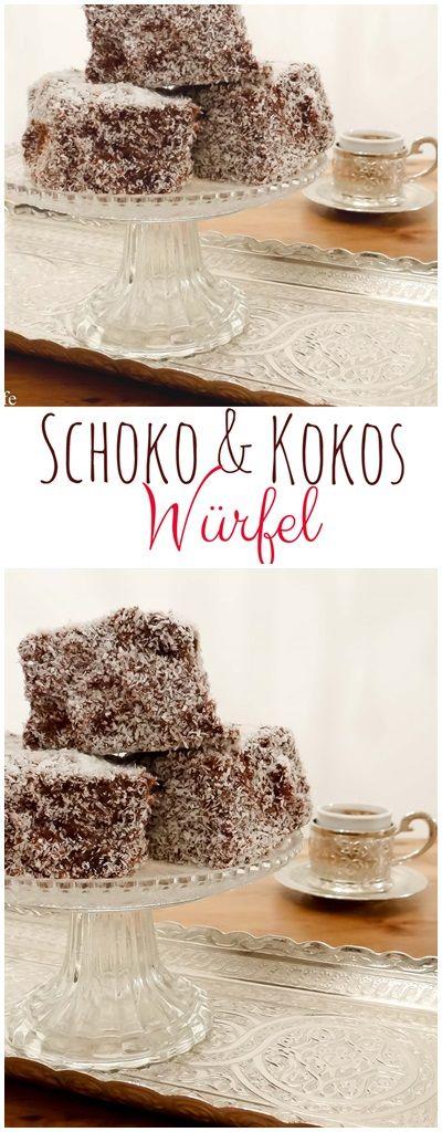 Schoko und Kokos Würfel - Schokokuchen mit Kokos Rezept