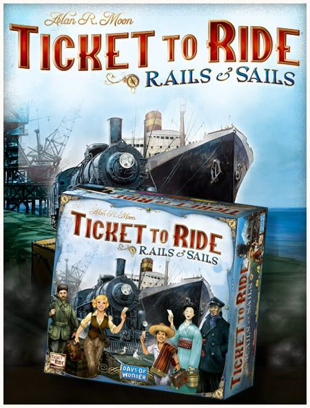 Discover the next installment in our famous train game series: Ticket to Ride: Rails & Sails! Including a massive two-sided board featuring the World map on one side and the Great Lakes of North America map on the other, this version will enable you to set sails to new horizons thanks to the new ship routes. Ticket to Ride: Rails & Sails is expected to be available at GenCon in August, then worldwide in early September at an expected retail price of $80/€70.