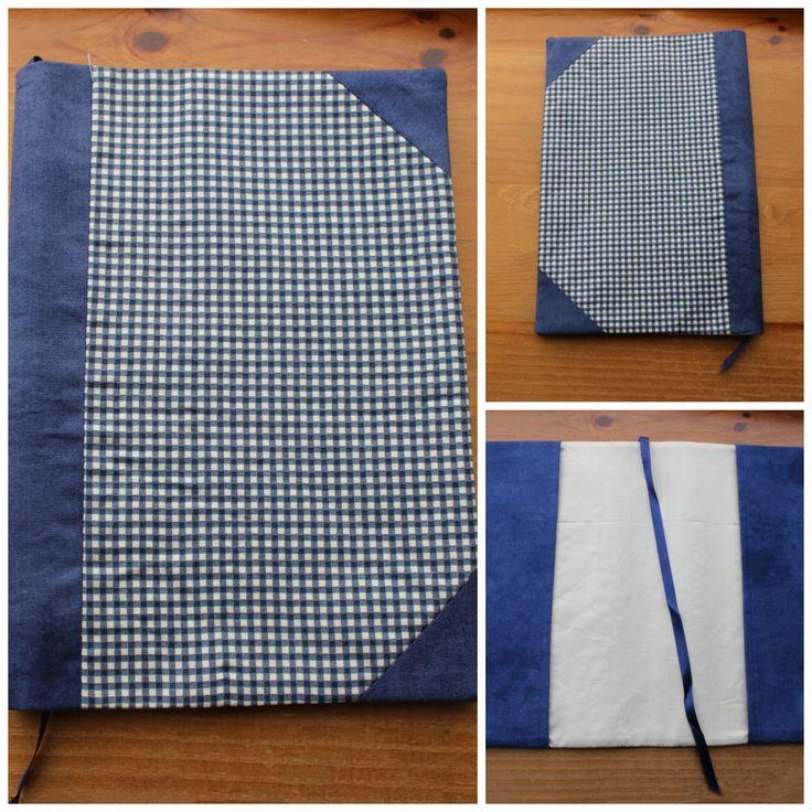 Capa de Livro Quadrados Azul 25x35cms