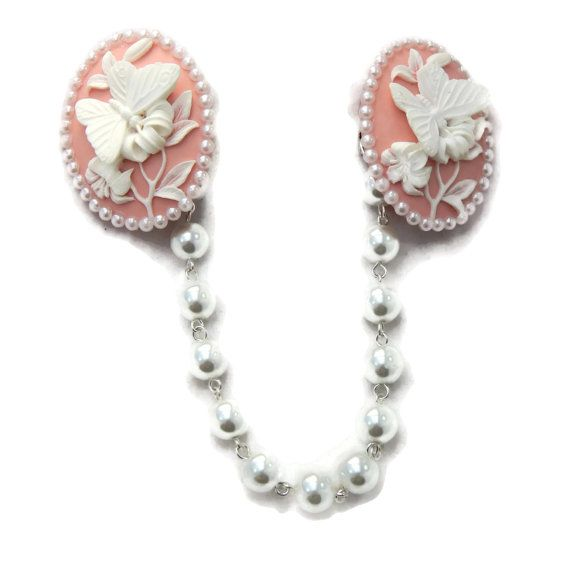 Butterfly Cameo Sweater Clip Pink and White by JuicyLucys