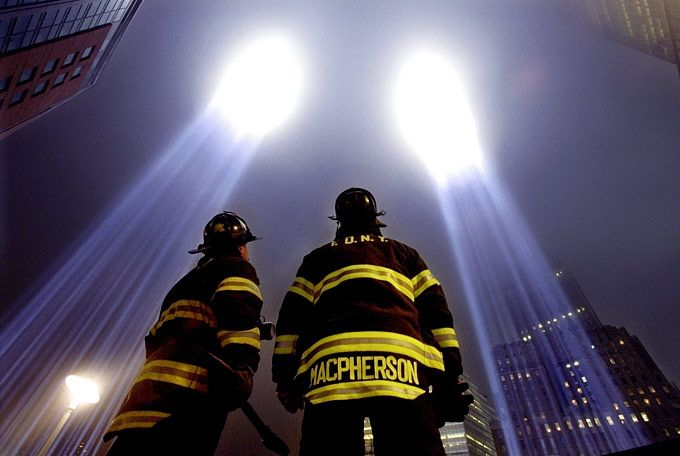911 Memorial Lights | ... Light Tribute before continuing their search for human remains at