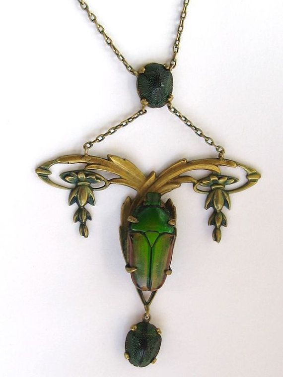 Art NOUVEAU Egyptian Necklace Real Large SCARAB by MISSIONMOD, $849.00