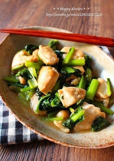 柔らか鶏むね肉と小松菜のバター醤油ガーリック風味 by たっきーママ ...
