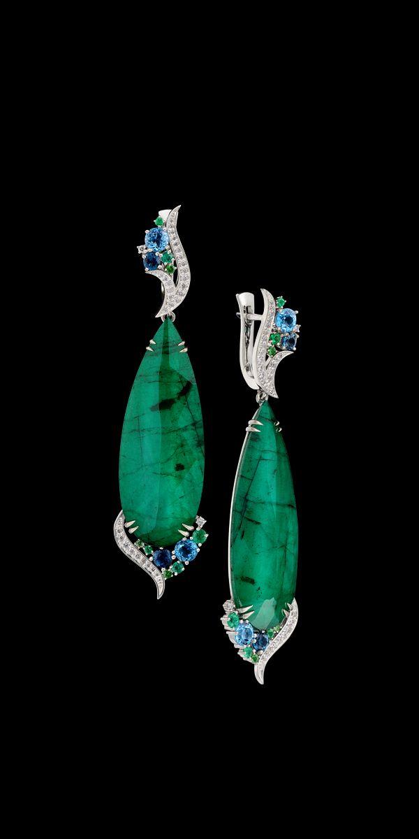 O ouro branco 585, esmeralda / quartzo ct 31,0, diamantes, esmeraldas, tsavority, topázio London azul, topázio.