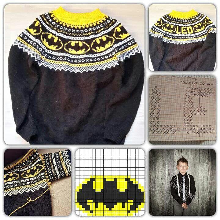 Batman genser.. Mariusmønster.. Den heldige eier er i nede i høyre hjørne
