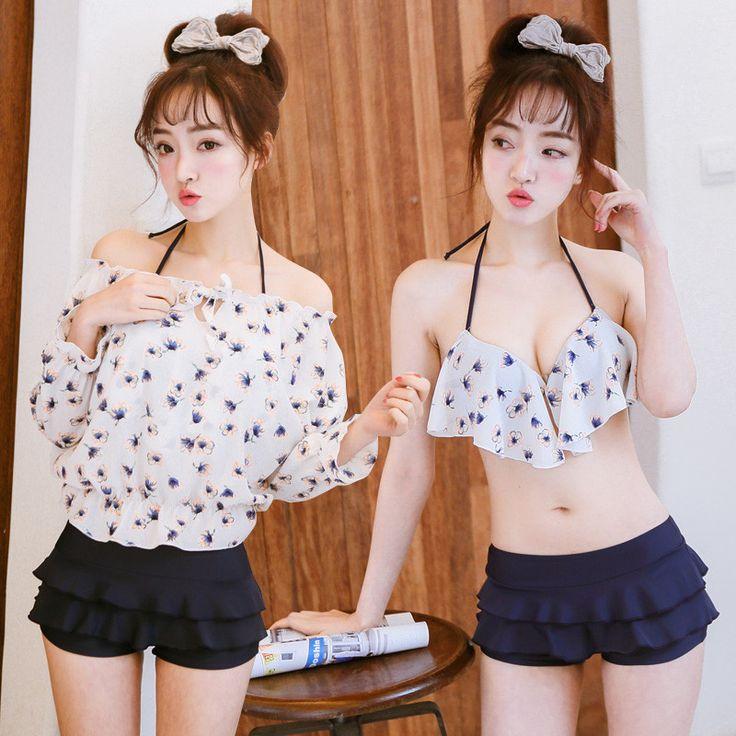 Korea sweet chiffon floral bikini three-piece suit