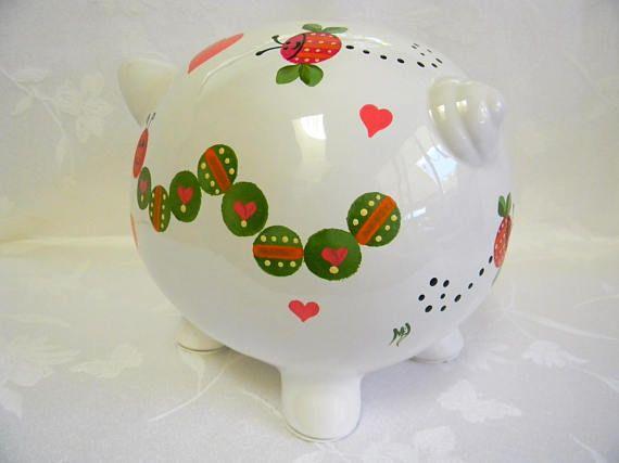 Caterpillar piggy bankPersonalized piggy banks painted piggy