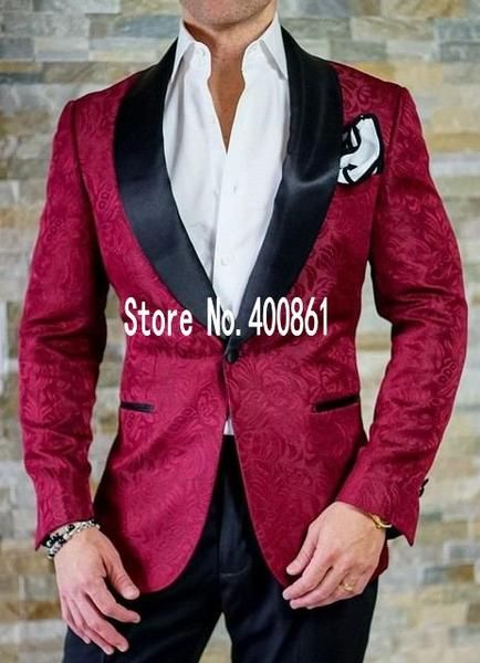 New Arrivals Burgundy Paisley Mens Suits Groom Tuxedos Groomsmen Wedding Party Dinner Best Man Suits W:87 jacket+pants+bow Tie
