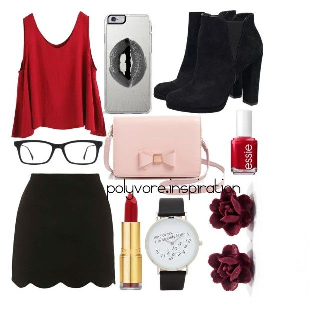 """Untitled #181"" by loveemyself on Polyvore featuring Lipsy, Topshop, WithChic, Ted Baker, Isaac Mizrahi, Ray-Ban, ALDO and Essie"
