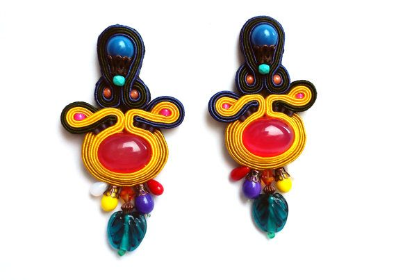 Tropical punch / soutache jewelry / handmade colorful earrings / embroidery