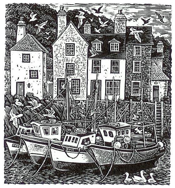 Low Tide, wood engraving by Sue Scullard