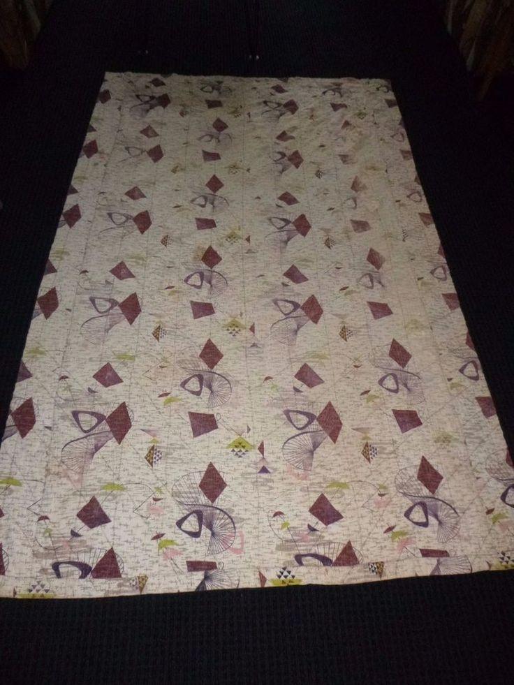 Vtg Mid Century Atomic Barkcloth Quilt Bedspread Coverlet ***CUTTER**** 50 x 80