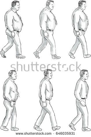 Collection set of illustration of an obese man morphing into a fit man viewed from the side set on isolated white background done in drawing sketch style.   #obesity #sketch #illustration