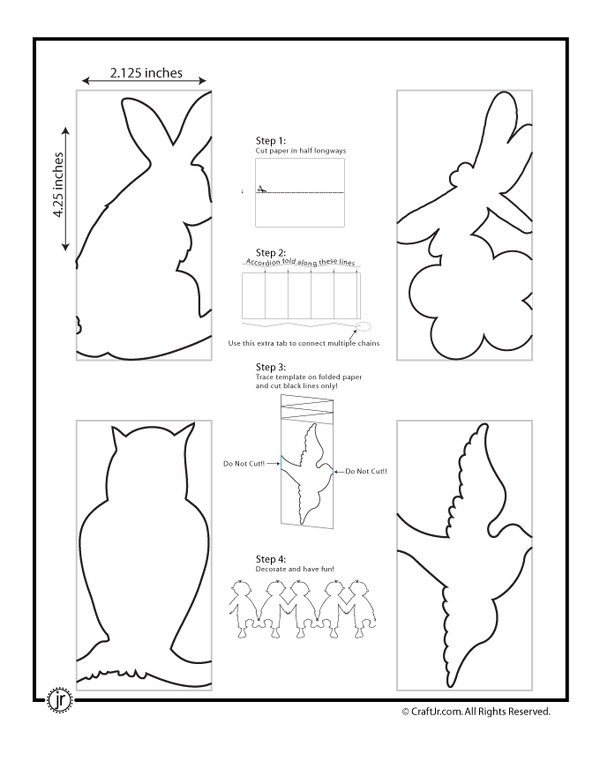 paper chain template- bunny, bird