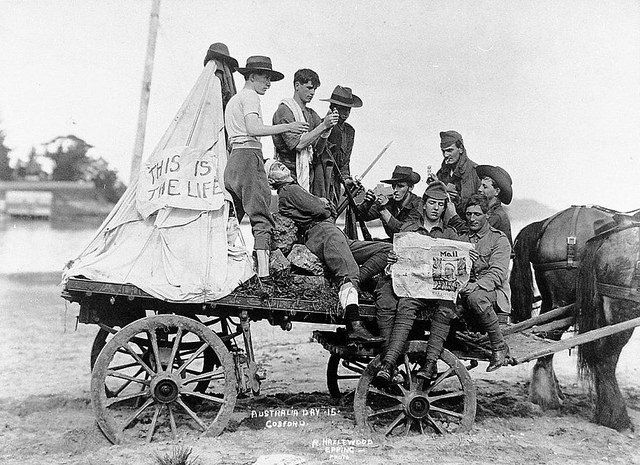 Float depicting life at the Front, Australia Day parade, Gosford, 30 July, 1915 by Gostalgia: local history from Gosford Library, via Flickr...