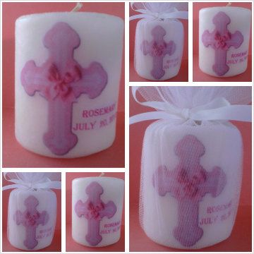 Personalized baptism, christening, or first communion candle favors or centerpiece...girl / boy Large cross, name, date. Choose blue or pink