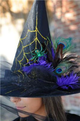 Look at this awesome Spooky Style from Michaels Stores!  We love the peacock! #Witch Hat #Halloween #Costume