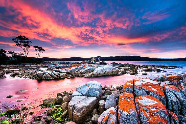 A brilliant display of sunset colour at Binalong Bay [Bay of Fires, Tasmania,