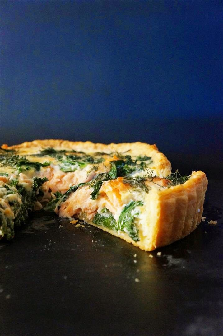 Cakelets and Doilies: Smoked Salmon, Kale and Dill Quiche with Sour Cream Shortcrust