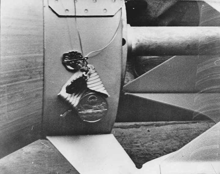 Close-up view of the medal James Doolittle tied to the fins of a 500-pound bomb being readied for the Doolittle Raid 18 April 1942.