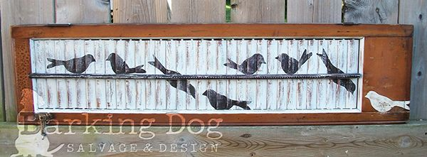 My most popular shutter design: Birds-on-a-Wire. Hand-painted on a vintage shutter with original hardware and natural wood. *Are you interested in my custom designed, hand-painted shutters? Please visit my facebook page and support artists and small, independent businesses ~ Thank you for your support! https://www.facebook.com/BarkingDogSalvageAndDesign