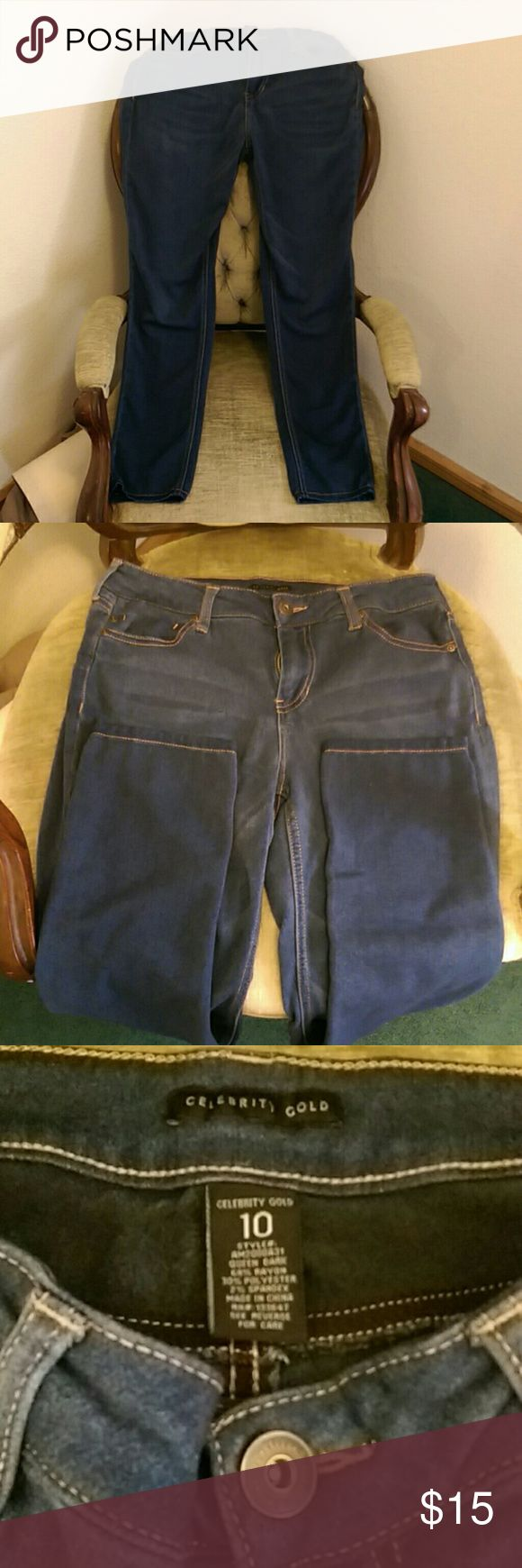 Women's stretchy blue jeans, 10 These jeans stretch and are so comfy. They're too short for me, Inseam is 30. celebrity gold Jeans Straight Leg