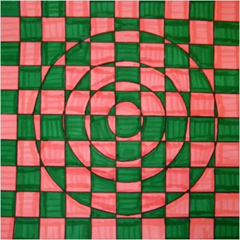 Op Art Checkerboard    This project is a student favorite, but it is also a challenging one. Students are shown examples of Op Art and artists such as M.C. Escher and Bridget Riley. They are then shown the steps for creating the type of Op Art shown above. The end result is a really complex image with colors and overlapping shapes!