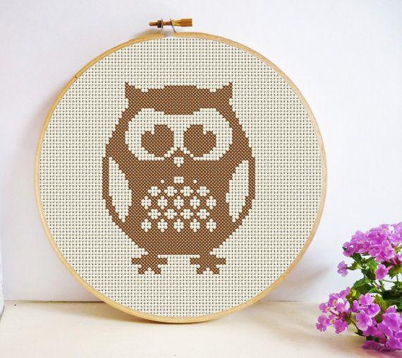 Round Owl Cross Stitch Pattern PDF Instant by HeritageStitch
