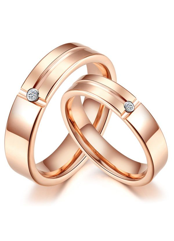 Matching His And Hers Rose Gold Tungsten Wedding Bands Set With Diamonds Grooves Idream