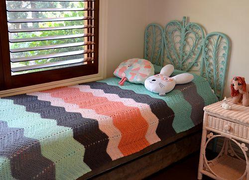 Layla's Pastel Crochet Chevron Blanket