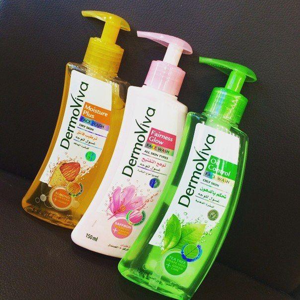Средства для умывания DermoViva: Желтый - для сухой и нормальной кожи Face Wash Moisture Plus с миндалем, алоэ вера и медом. Натуральные компоненты глубоко очищают кожу, при этом увлажняя её, что всегда обеспечит вам ухоженный и свежий вид. Розовый - для всех типов кожи Face Wash Fairness Glow: содержит экстракты шафрана, куркумы и сандалового дерева, обеспечивает надёжное очищение кожи, дарит здоровый и сияющий цвет лица. Зеленый - для жирной кожи Face Wash Oil Control