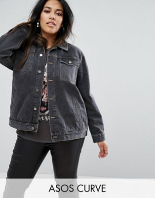 ASOS CURVE Washed Black Girlfriend Jacket
