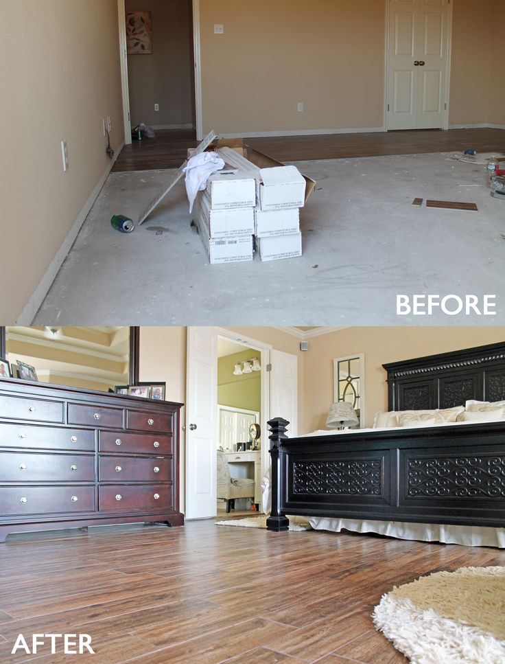 Master #bedroom Remodel Before And After. Wood Look #tile Floors.