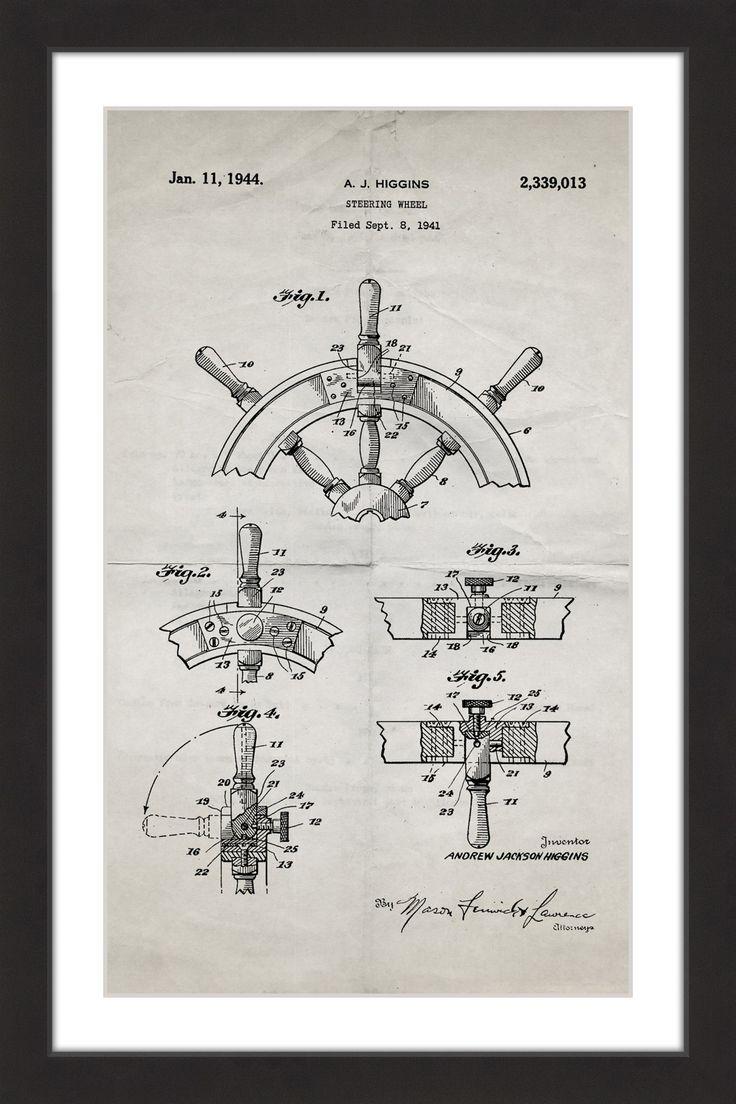 Boat Steering Wheel 1941 Old Paper