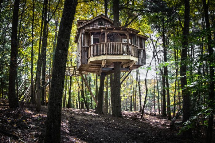 The Mohicans (Glenmont) - In addition to the great outdoors and beautiful cabins, The Mohicans feature some mind-blowing tree houses (complete with electricity and running water) available for overnight stays.