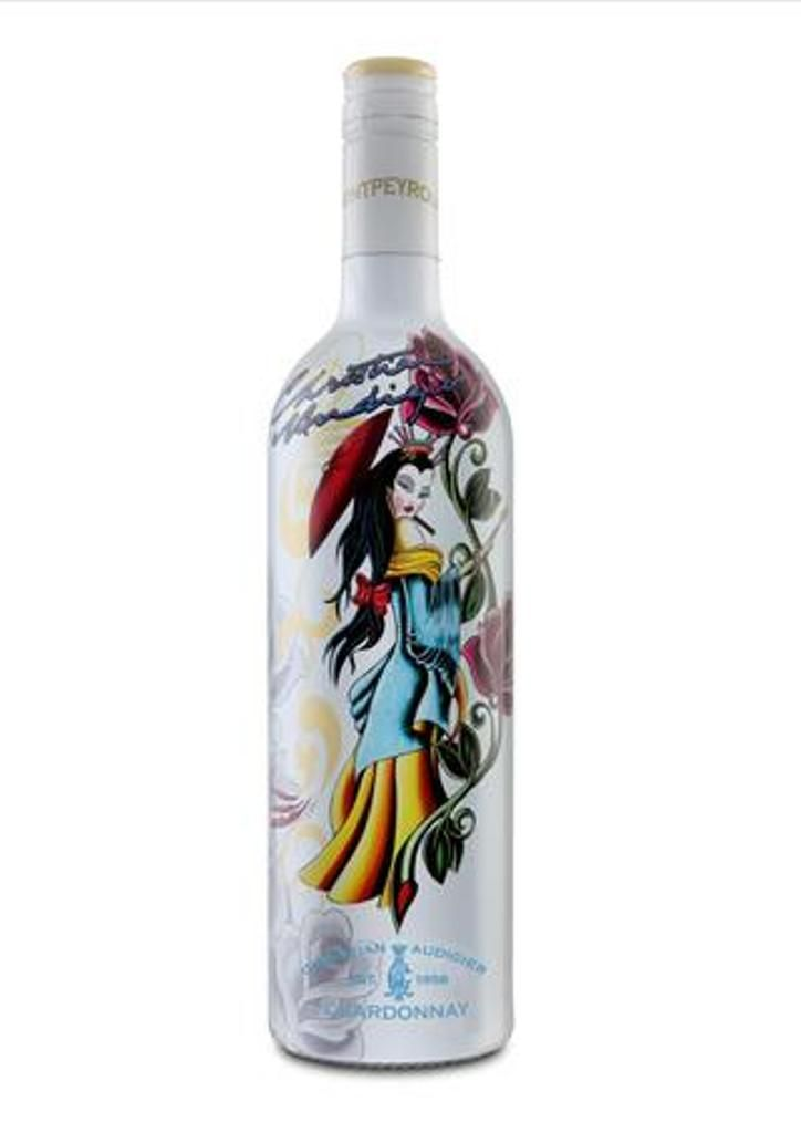 Bottle of Christian Audigier Chardonnay Wine (Geisha design).