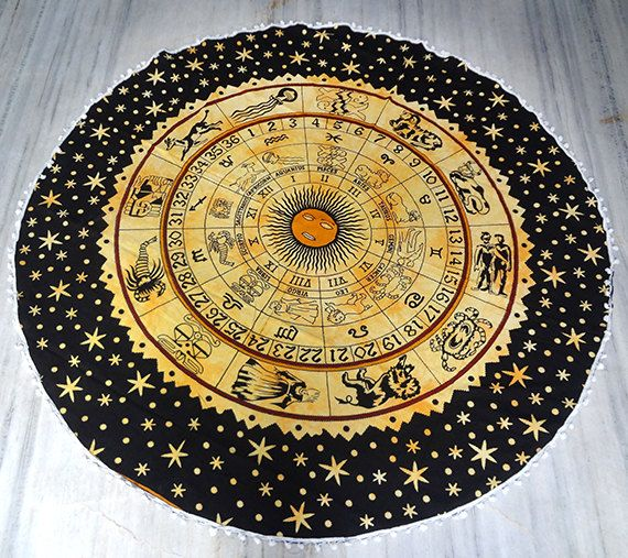 Yellow Astrology Round beach throw, Table cover ,Bed throw ,yoga mat ,round beach towel ,hippie,mandala roundie ,round table cover by Sparshh on Etsy