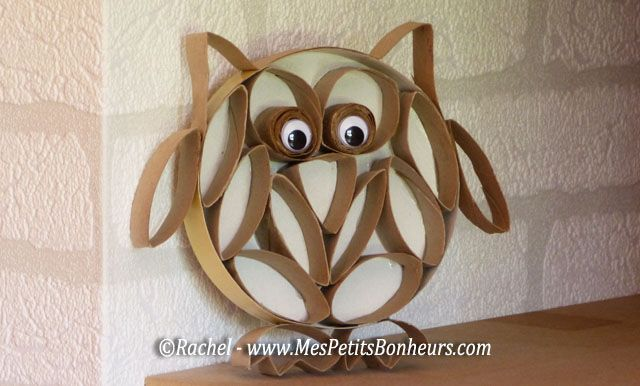 hibou en rondelles de carton