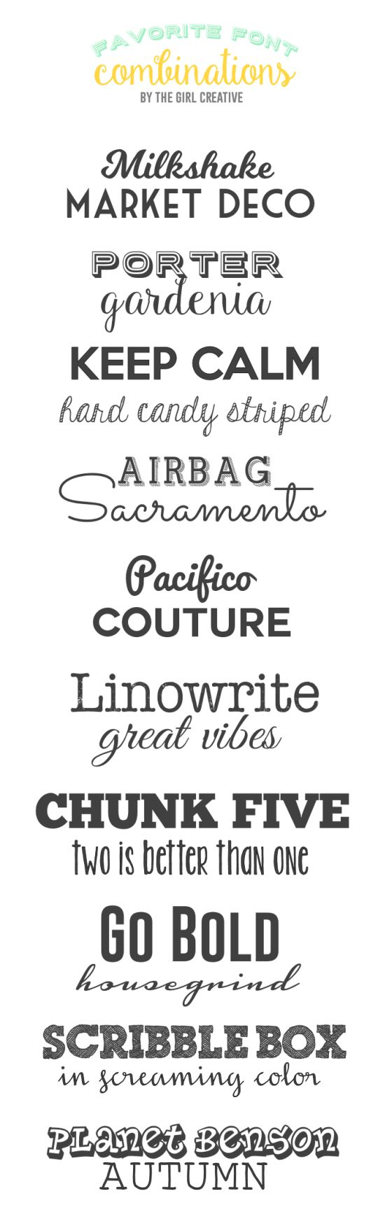 Favorite Font Combinations - Fonts, fonts and more fonts! This is a collection of my favorite font combinations and they are all FREE!