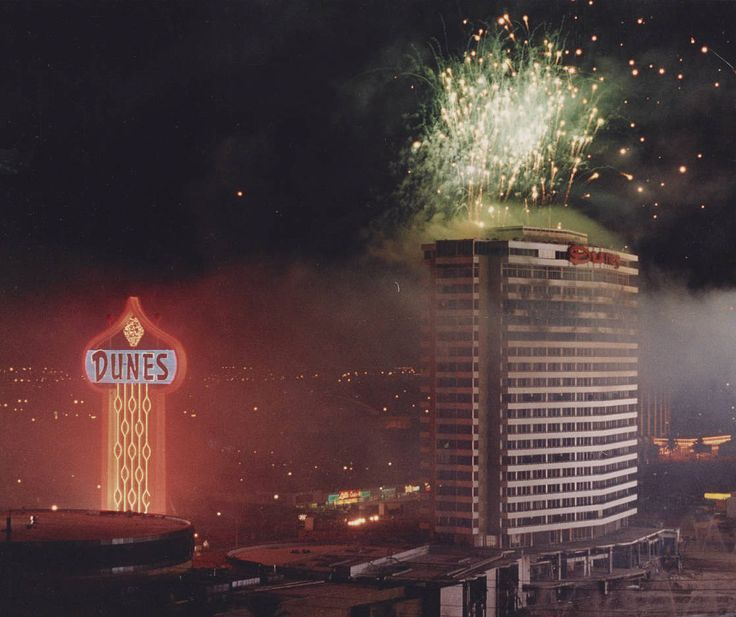 The Dunes tower in Las Vegas, seconds before it was flattened by demolition (October 27, 1993). This area became the Bellagio fountain.