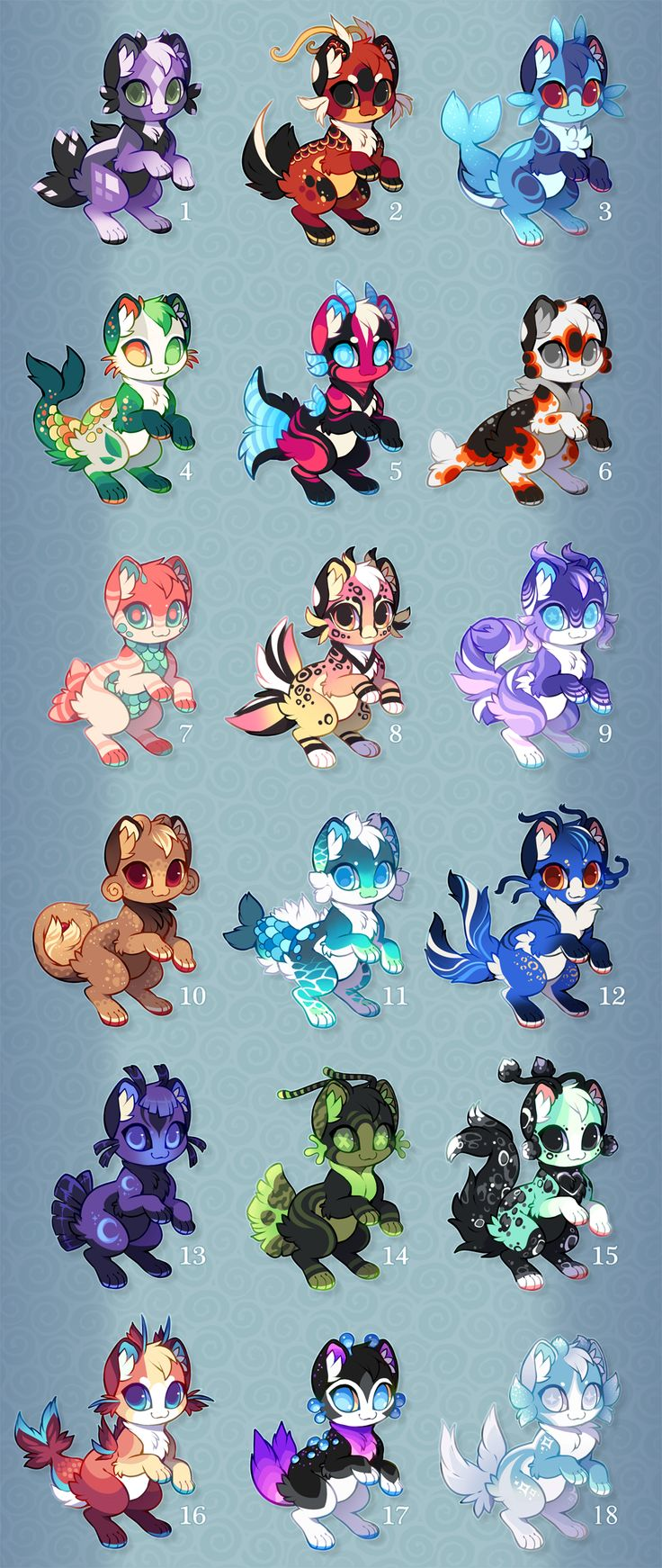 11, 13, and 15 are mine, 4, 8, and 16 were adopted by @dawn5998, 1, 2, 5, 7, 9, 14, and 17 were adopted by @zhilynnw