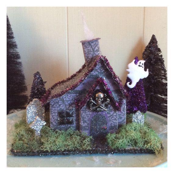 Spooky purple haunted retro putz style glitter by Sugarbirdhollow
