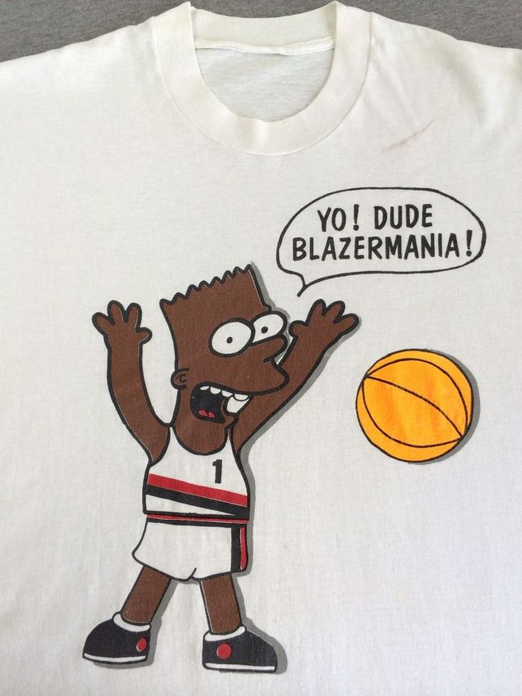 Vintage BART SIMPSON T-shirt 90's Portland Trail Blazers Rip City Black Air Bart #GraphicTee