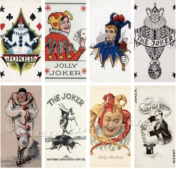 Printable Pretty Paper-  Little Jokers Vintage Playing Cards