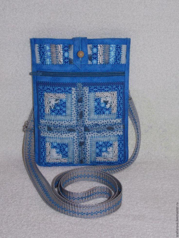 Купить Сумка-карман, лакомник, сумка на пояс, Лоскутная сумка, Синий, Этно - орнамент